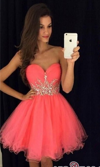 Sweetheart Mini Beadings Tulle A-line Homecoming Dress