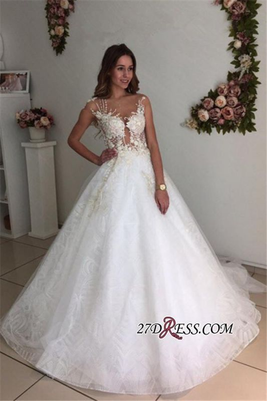 A-Line Beach Court-Train White Lace Tulle Appliques Wedding Dresses