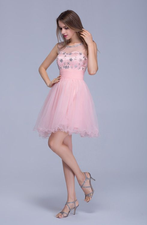 Lovely Illusion Pink Short Homecoming Dress Sleeveless With Crystals