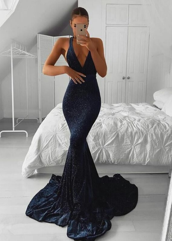 Gorgeous V-Neck Sequins Prom Dress | 2020 Mermaid Long Evening Party Dress On Sale BC1307