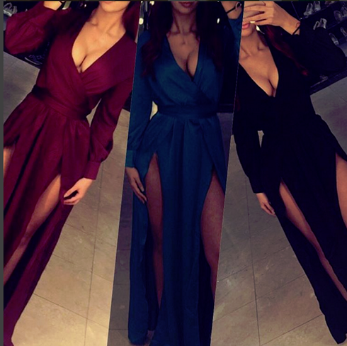 2020 Sexy Side-Slits Long Burgundy Dress Prom Long Sleeves Party Dresses BA4135