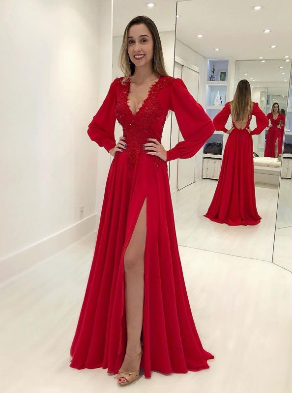 Sexy V-Neck Long Sleeves Red Evening Gown | Front Split Lace Applique Prom Dress On Sale