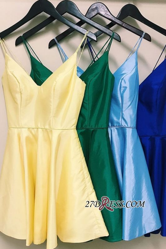 Spaghetti-Straps Cute V-neck A-Line Homecoming Dresses