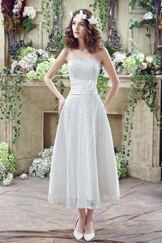Delicate Lace Flower Strapless 2020 Wedding Dress A-line Sleeveless Lace-up