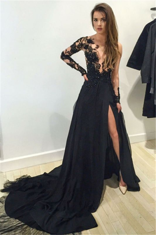 Sexy Black Lace Appliques 2020 Prom Dress Front Split Long Sleeve Sweep Train