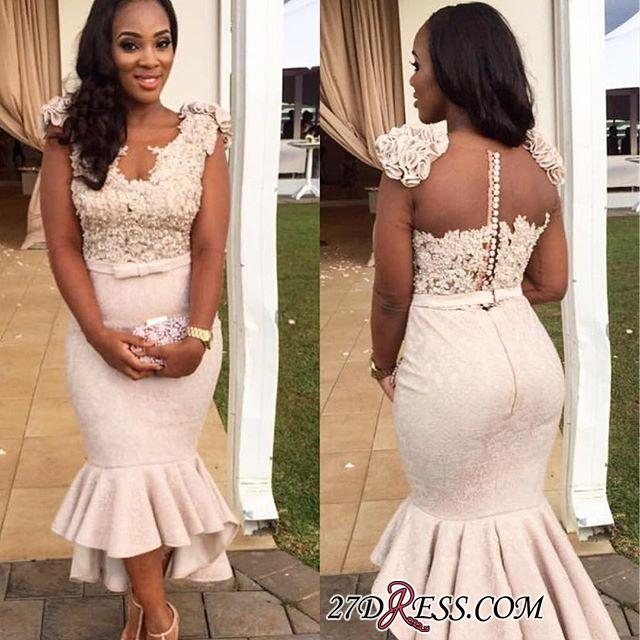 Mermaid Appliques Simple Sleevelss Buttons Hi-Lo Lace Prom Dress BA4670 BK0