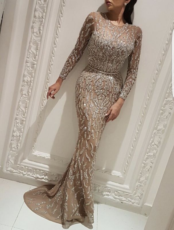 Gorgeous Crew Long Sleeves Evening Dress On Sale | 2020 Long Mermaid Sequins Prom Gowns BC0704