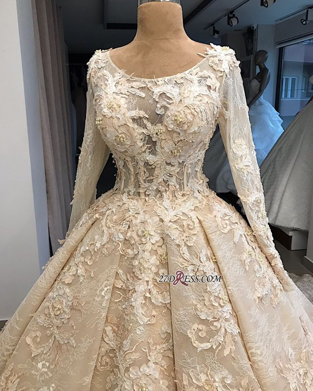Ball-Gown Appliques Scoop Excellent Long-Sleeves Wedding Dresses