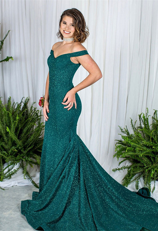 Green Off-the-Shoulder Prom Dress | 2020 Sequins Mermaid Evening Gowns