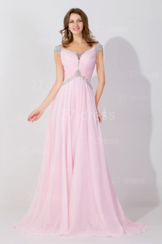 Sexy Beadings Cap Sleeve Evening Dress Chiffon Pink A-line