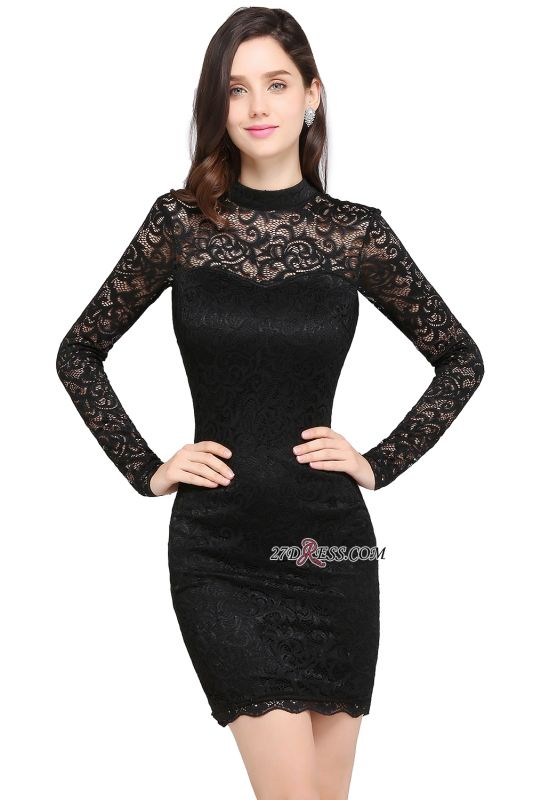 Short Black Long-Sleeves Lace High-Neck Party Dress