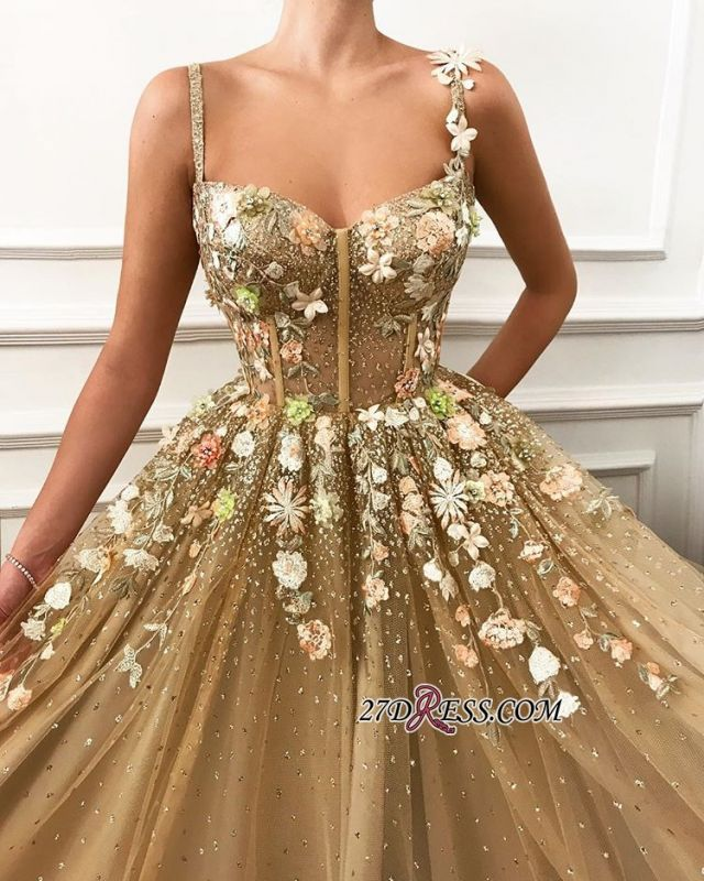 Gorgeous A-Line Flower Appliques Tulle Party Dresses | Spaghetti-Straps Sleeveless Princess Prom Dresses
