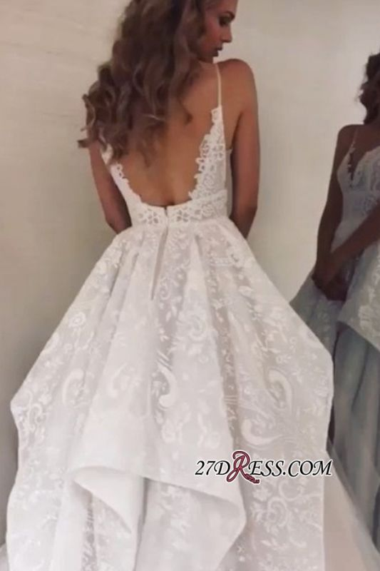Spaghetti-Straps A-line White Backless Charming Wedding Dresses