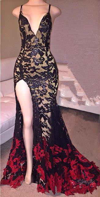 Sexy Black And Red Mermaid 2020 Prom Dress V-Neck Front Split