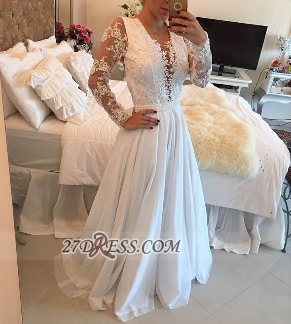 Elegant V-neck Long Sleeve Evening Dress With Pearls And Lace Appliques BT0