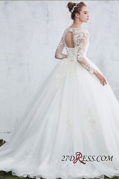 Lace Gown Long-Sleeve Ball White Sexy Jewel Wedding Dresses
