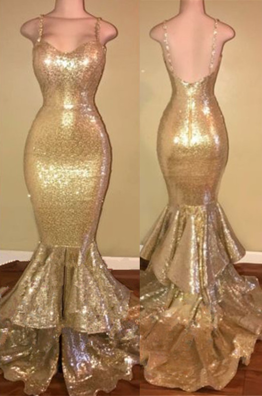 Glamorous Spaghetti Straps 2020 Prom Dress Long Sequins Mermaid Party Dress With Ruffles