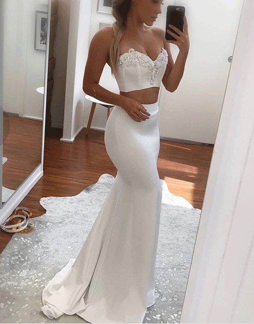 White Two Pieces 2020 Prom Dress | Mermaid Appliques Long Evening Gowns