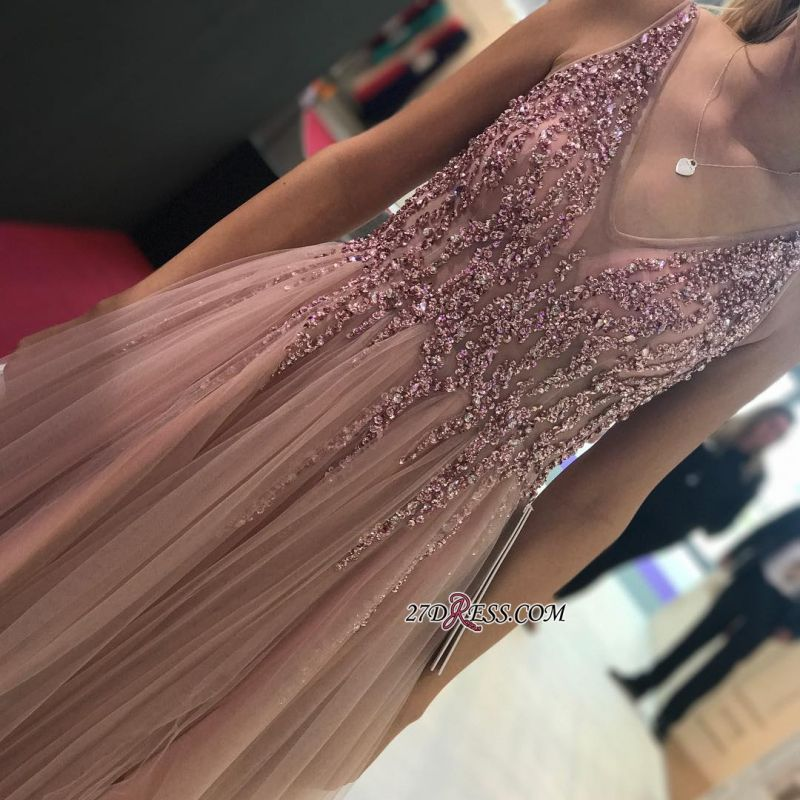 Sleeveless A-line V-neck Evening Gowns | 2020 Tulle Prom Dress With Slit