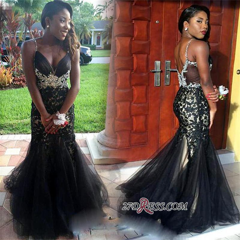 2020 Mermaid Tulle Spaghetti-Straps Crystal Appliques Black prom dress BK0