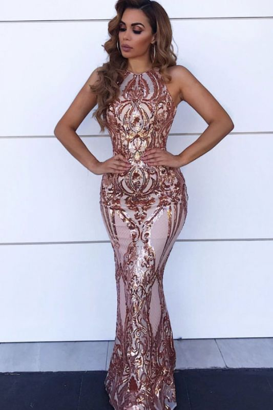 Glamorous Halter Sleeve Sequins Prom Dresses   2020 Mermaid Long Evening Gowns BC0506
