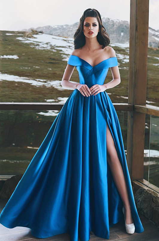 Blue Off-the-Shoulder Prom Dress   2020 Long Evening Gowns With Slit BA8863