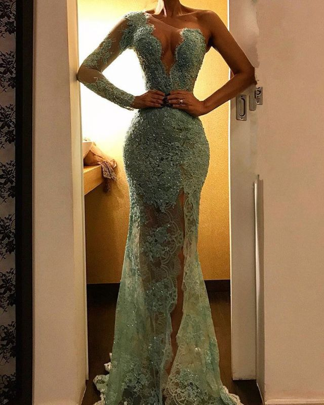 Beautiful One Shoulder Mermaid Evening Dress   Lace Long Prom Party Dress BC2278