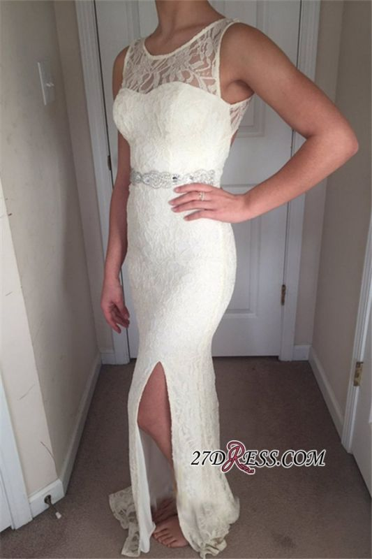 Sexy Side Slit Lace Mermaid Prom Dresses   Scoop Sleeveless Long Evening Dresses