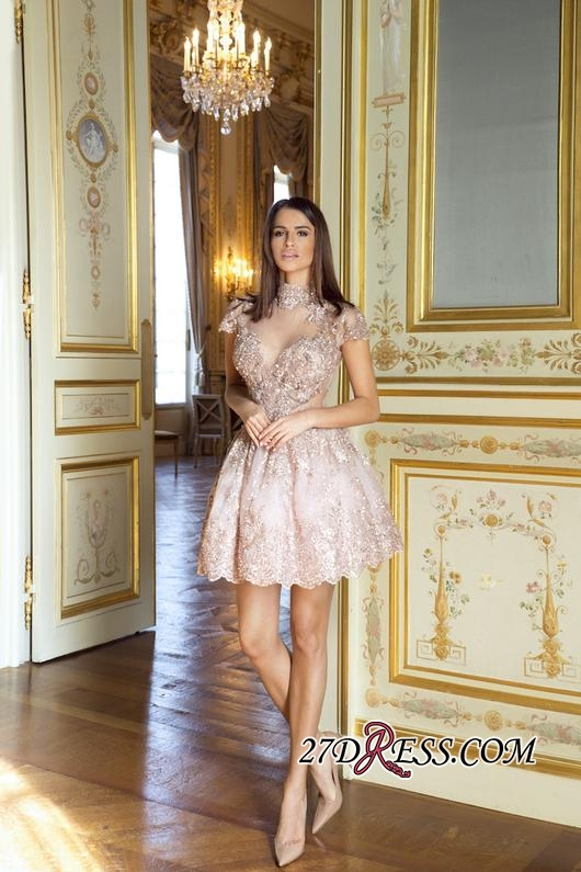 Occasion Lace Elegant Short Special Pink Long-Sleeve High-Neck Homecoming Dresses BA7055