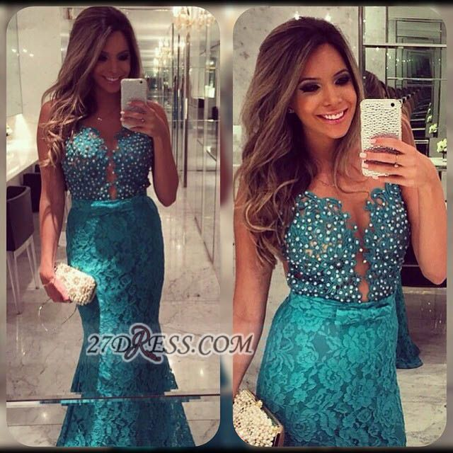 Sexy Sweetheart Beadings Lace Prom Dresses Sleeveless Mermaid Eveing Gowns