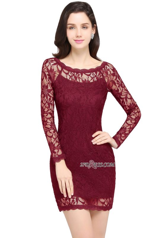 Sheath Long-Sleeves Lace Navy-Blue Cheap Cocktail Dress