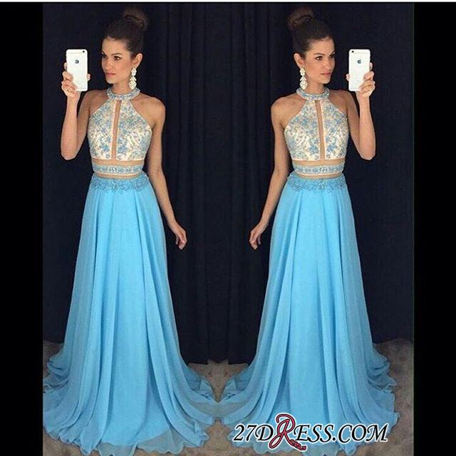 2020 Chiffon Sleeveless Lace-Appliques Halter Newest A-line Sweep-Train Prom Dress