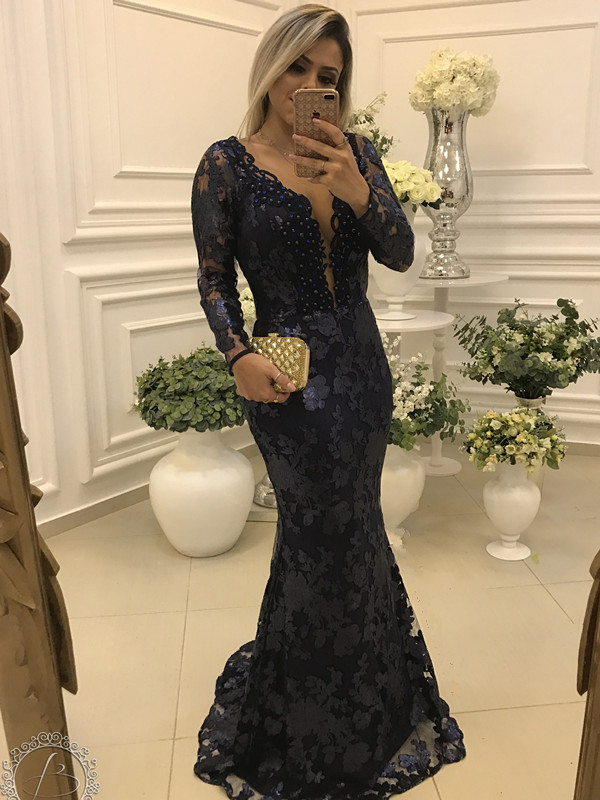 Elegant Long Sleeve Lace 2020 Evening Dress Mermaid Beadings On Sale BA7446