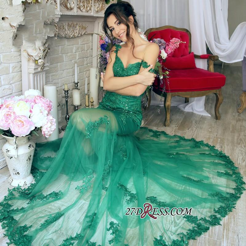 Sheer-Skirt Appliques Green Gorgeous Off-the-Shoulder Mermaid Prom Dress PT0350