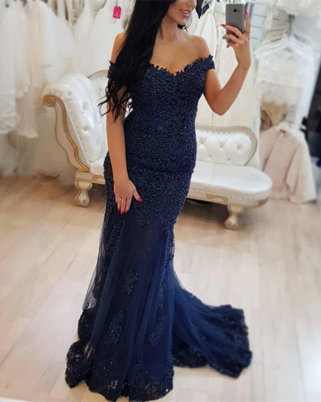Elegant Off-the-Shoulder Navy Prom Dresses | 2020 Lace Mermaid Evening Gowns