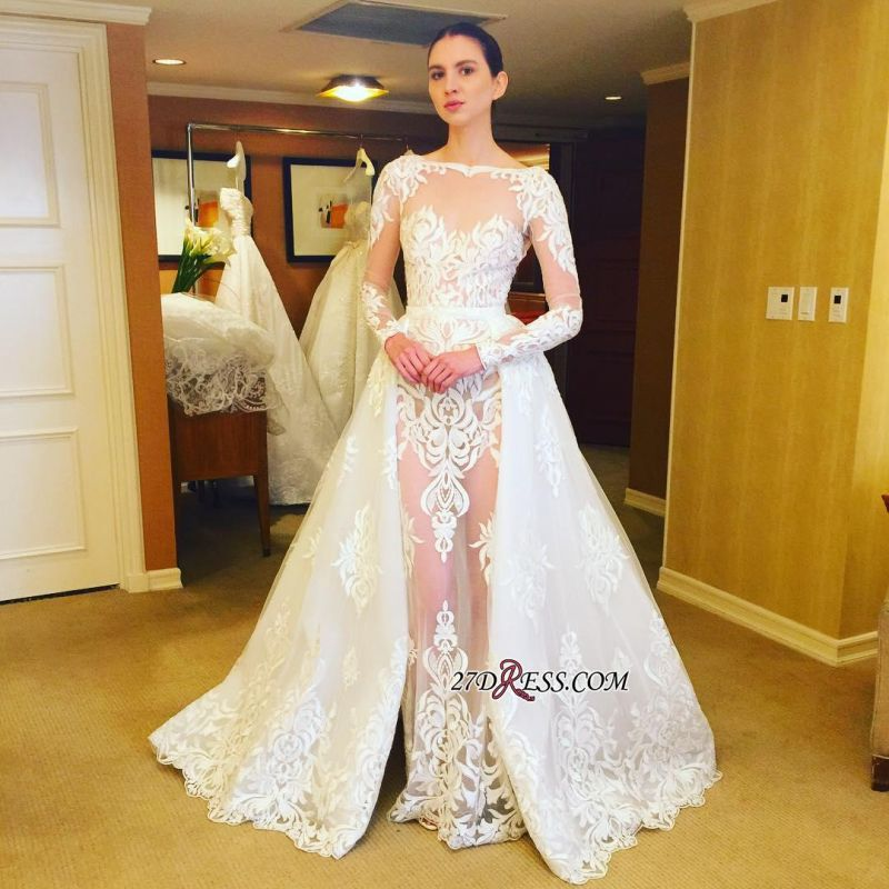 Lace Ruffles Sheer Stunning Long-Sleeves Wedding Dress