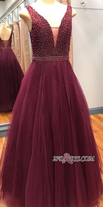 Gorgeous V-Neck Sleeveless 2020 Prom Dresses With Beadings Online