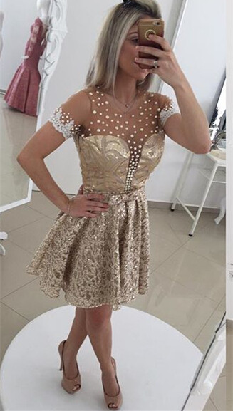 Glamorous Pearls Lace 2020 Cocktail Dress Illusion Short Sleeve BT0