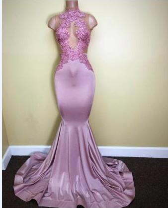 Sleeveless Sweep-Train Appliques High-Neck Mermaid Newest Prom Dress BA5116