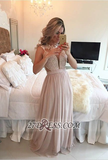 Elegant High Neck Sleeveless Long Prom Dress Lace Pearls Chiffon Evening Gowns BT0
