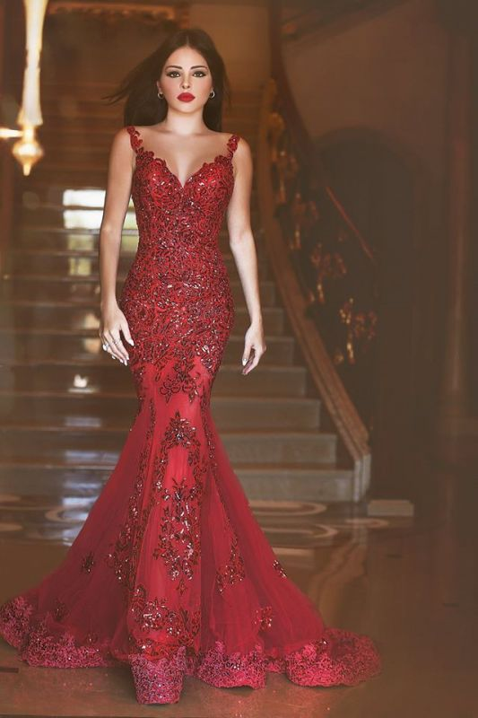 Glamorous Red Mermaid Sequins Prom Dress 2020 Appliques Sweep Train BM0645