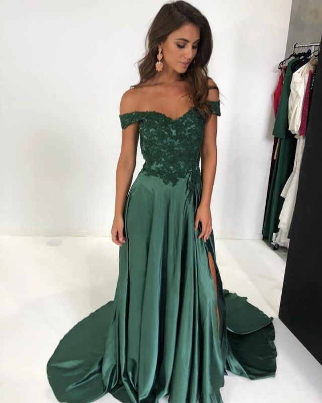 Gorgeous Off-the-Shoulder Mermaid Prom Dresses | 2020 Long Evening Gown With Slit