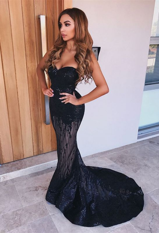 Sexy Black Sweetheart Prom Dresses | 2020 Mermaid Sequins Evening Gowns