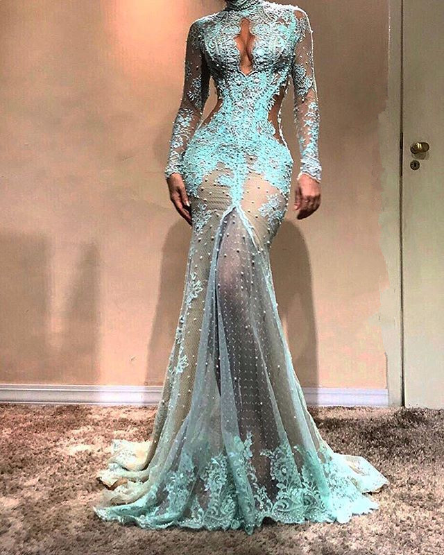 Gorgeous Long Sleeve Mermaid Evening Dress | 2020 Lace Formal Dress BC0003