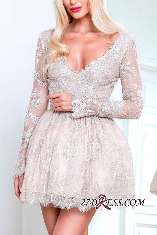 Short Champagne Long-Sleeve Lace Homecoming Dresses