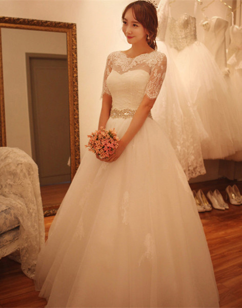Elegant Half-Sleeve Tulle Lace Wedding Dresses 2020 A-Line With Crystal