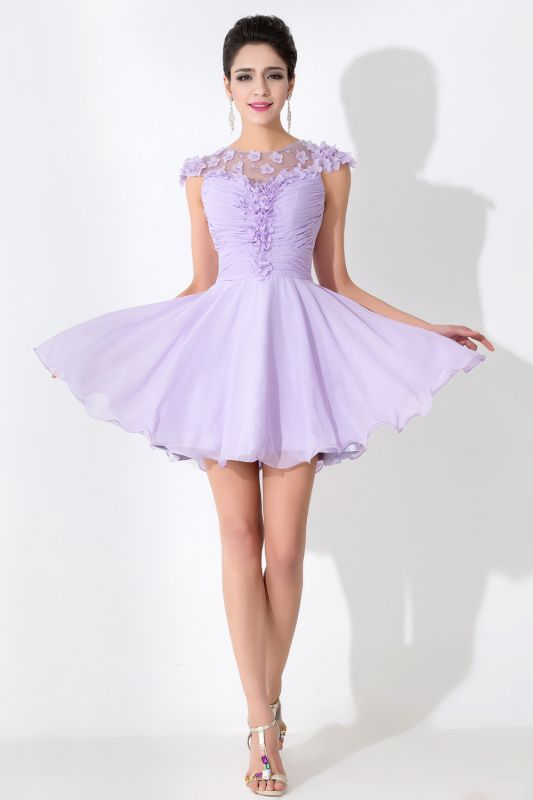 Lovely Illusion Cap Sleeve Chiffon Homecoming Dress With Flowers Beadings