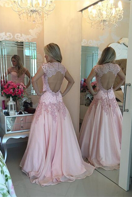 Delicate Pink Lace Appliques Prom Dress 2020 Sweep Train