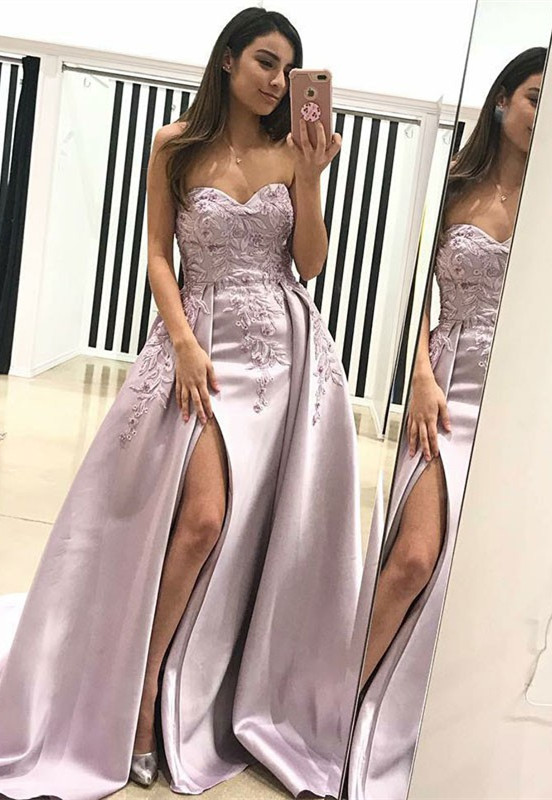 Gorgeous Sweetheart Evening Dress | 2020 Lace Appliques Prom Dress With Slit BA9853