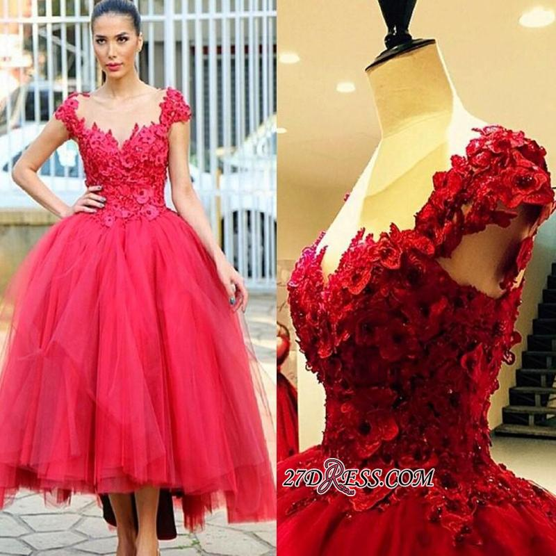 Flowers Cap-Sleeves Tired Pearls High-Low Ball-Gown Evening Dress